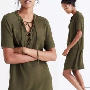 Madewell • Novella Green Lace-up Front Dress